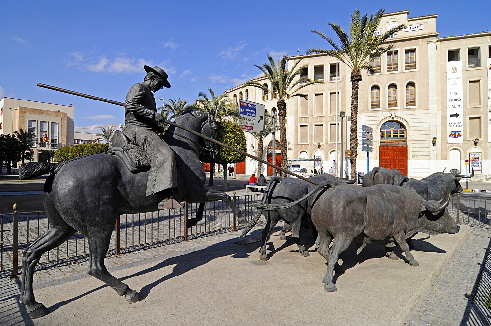 Sculpture outside the bullfighting ring and museum, Alicante, Costa Blanca, Spain, Europe
