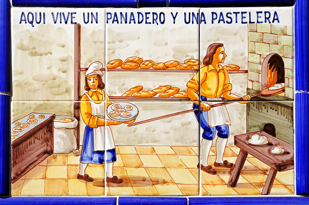 Bakery, pastry shop, Spanish tiles, Gata de Gorgos, Alicante, Costa Blanca, Spain
