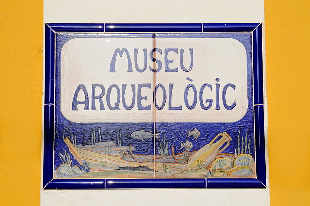 Sign, Spanish tiles, Archaeological Museum, Calpe, Alicante, Costa Blanca, Spain