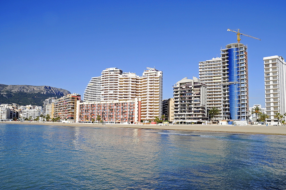 Multistory buildings, high-rises on the beach, Arenal, Calpe, Alicante, Costa Blanca, Spain