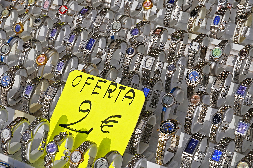 Watches for sale at the weekly market, Altea, Alicante, Costa Blanca, Spain