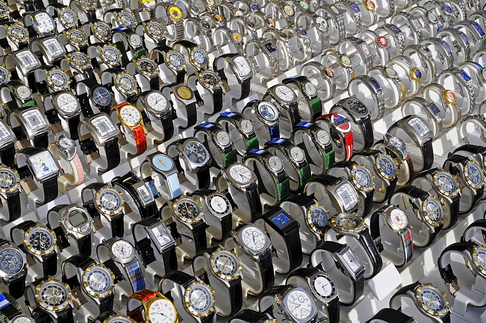 Watches for sale at the weekly market, Altea, Alicante, Costa Blanca, Spain - 832-275592