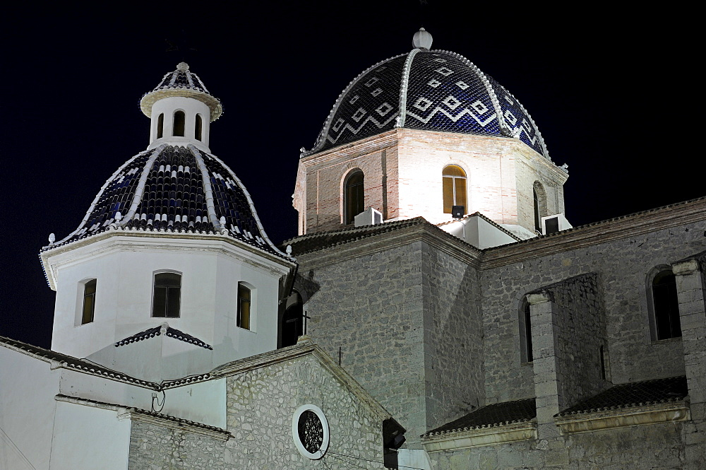 Virgen del Consuelo Church at night, Altea, Alicante, Costa Blanca, Spain