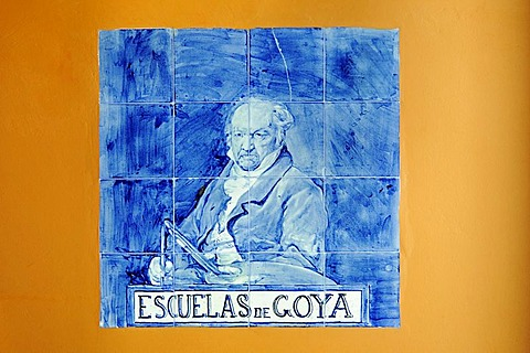 Portrait of Francisco de Goya on Spanish tiles, azulejos, in the Museum at his place of birth, Fuendetodos, Aragon, Spanien, Europa