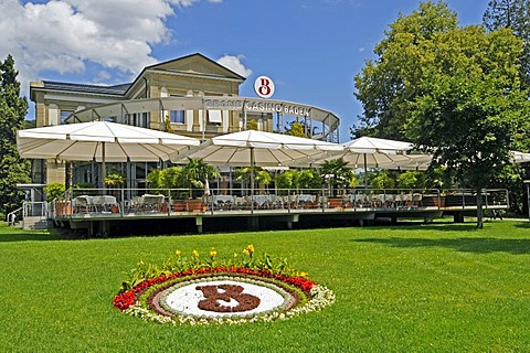 Restaurant terrace and flowers in the park of the Grand Casino Baden, Aargau, Switzerland, Europe
