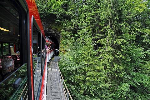 Tunnel, cog railway, Mount Rigi, Vitznau, Canton of Lucerne, Switzerland, Europe