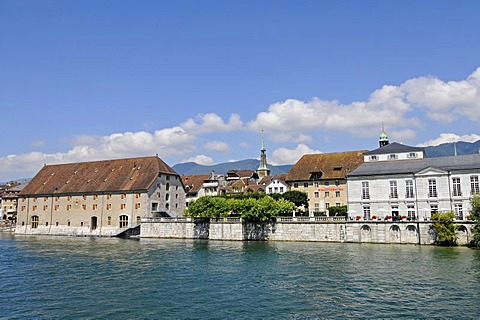 Aare River, country house, metropolitan theatre, Palais Besenval, Solothurn, Switzerland, Europe