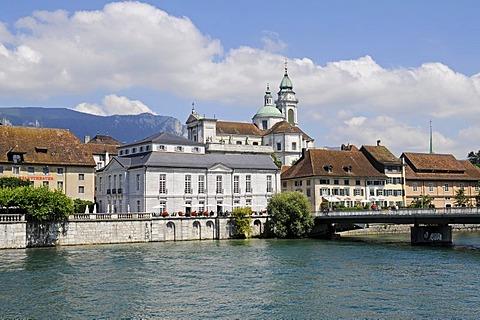 Aare River, metropolitan theatre, Palais Besenval, St. Ursen, cathedral, Solothurn, Switzerland, Europe