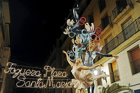 Hogueras de San Juan, Fogueres de Sant Joan, fiesta, festival, papiermache figures, colourful lights, Santa Maria square, evening, night, Alicante, Costa Blanca, Spain, Europe