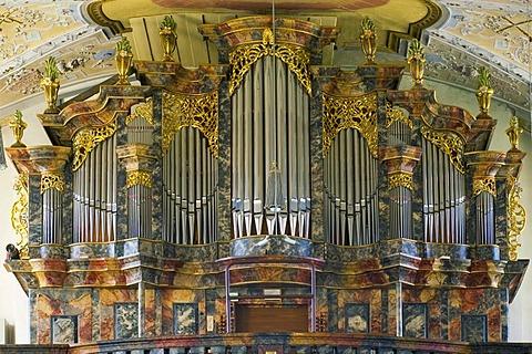 Marienweiher city of Marktleugast district of Kulmbach Upper Frankonia Bavaria Germany pilgrimage church Visitation of Mary organ