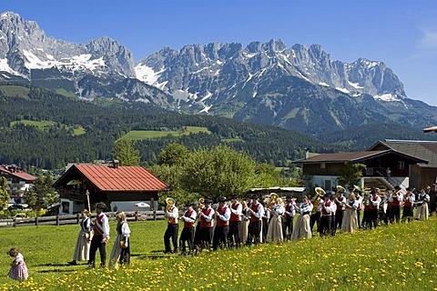 Corpus Christi Procession in Ellmau at the Wilden Kaiser near Scheffau Tyrol Austria