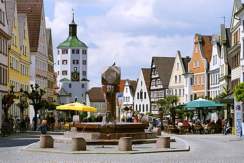 Guenzburg Bavarian Swabia Germany market square with Unteres Tor lower gate