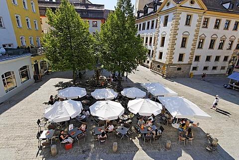 Regensburg Upper Palatinate Bavaria Germany coffee shop at Rathausplatz city hall square