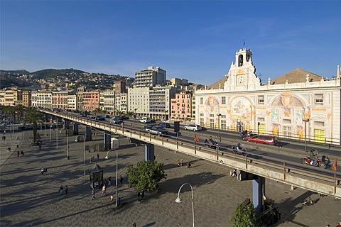 Genoa Genova Liguria Italy city highway with the palazzo San Giorgio