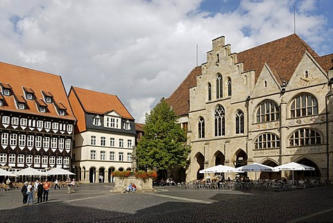 Hildesheim Lower Saxony Germany Marketplace with the town hall