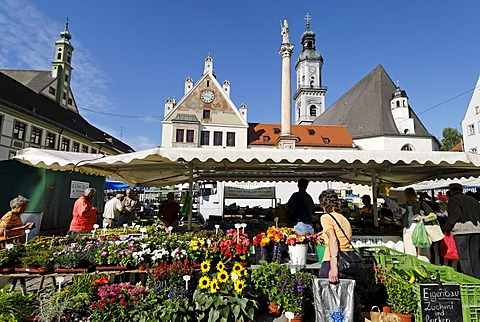 Freising Upper Bavaria Germany green market on the Marienplatz in front of the city hall and the parish church St Georg