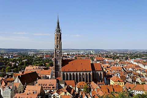 Landshut Lower Bavaria Germany parish church St Martin above the town seen from the castle Trausnitz