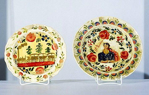 Franconian Museum Feuchtwangen Middle Franconian Bavaria Germany disks earthenware with St Barbara and the railway Nuremberg to Fuerth