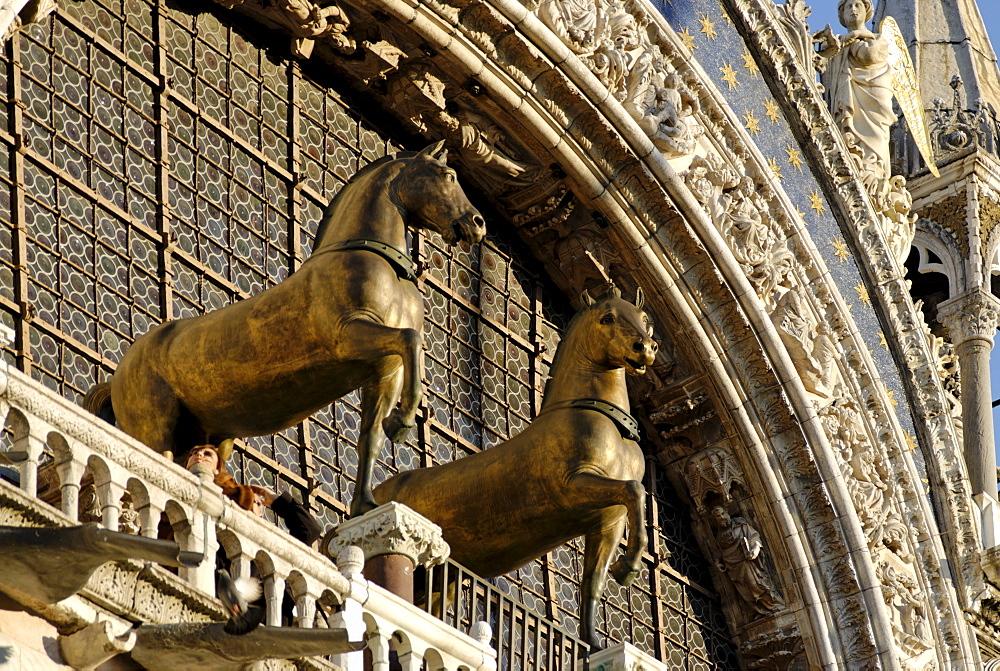 Details of the S. Marco church basilica San Mark horses of Saint Mark Venice Venezia Italy