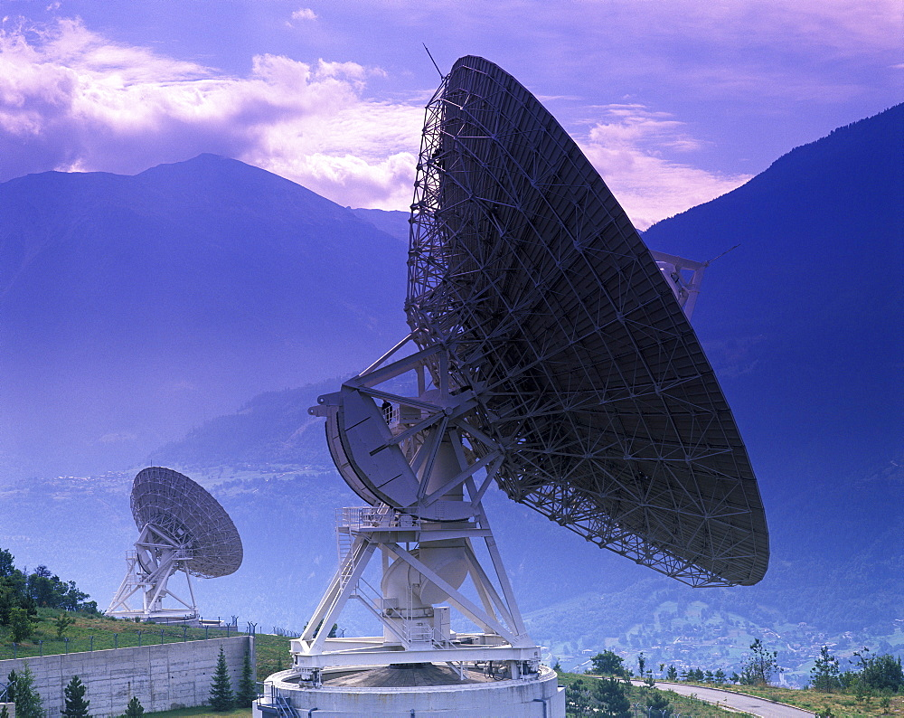 Ground communication station, near Leuk, canton of Wallis, Valais, Switzerland, Europe