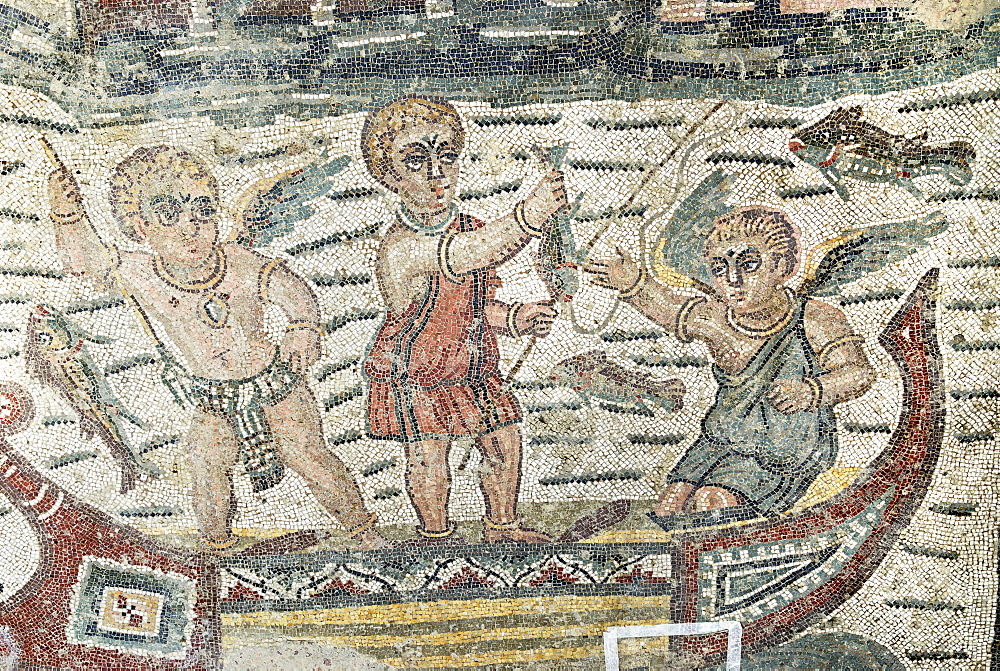Puttos as fishermen in a boat mosaic floor Villa Casale Piazza Armerina Sicily Italy