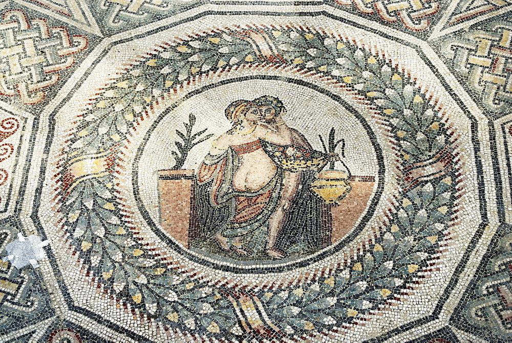 Loving couple mosaic floor Villa Casale Piazza Armerina Sicily Italy