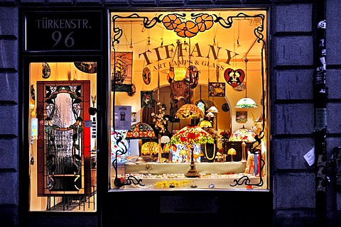 Shop window of a Tiffany lamp store, Schwabing, Munich, Bavaria, Germany
