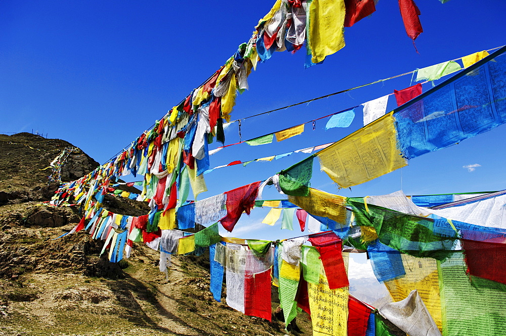 Prayer flags outside the Ganden convent (4300m) near Lhasa, Tibet