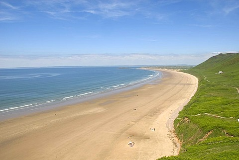 Sand beach and sea, Rhossili Beach, Gower Peninsula, Wales, Great Britain, Europe