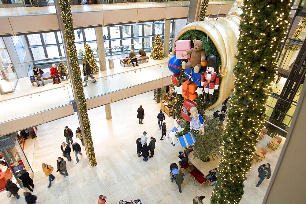 Christmas decoration in the shopping arcade - Europa Passage -, HAMBURG, GERMANY, EUROPE