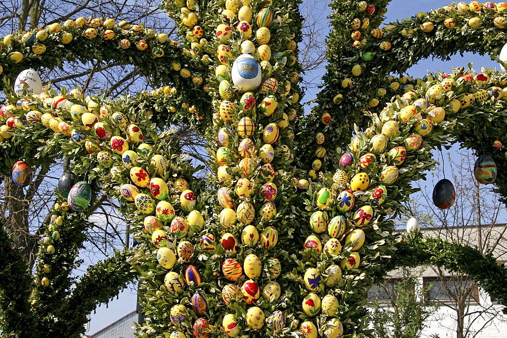 Easter fountain, detail, Grossmehring, Bavaria, Germany