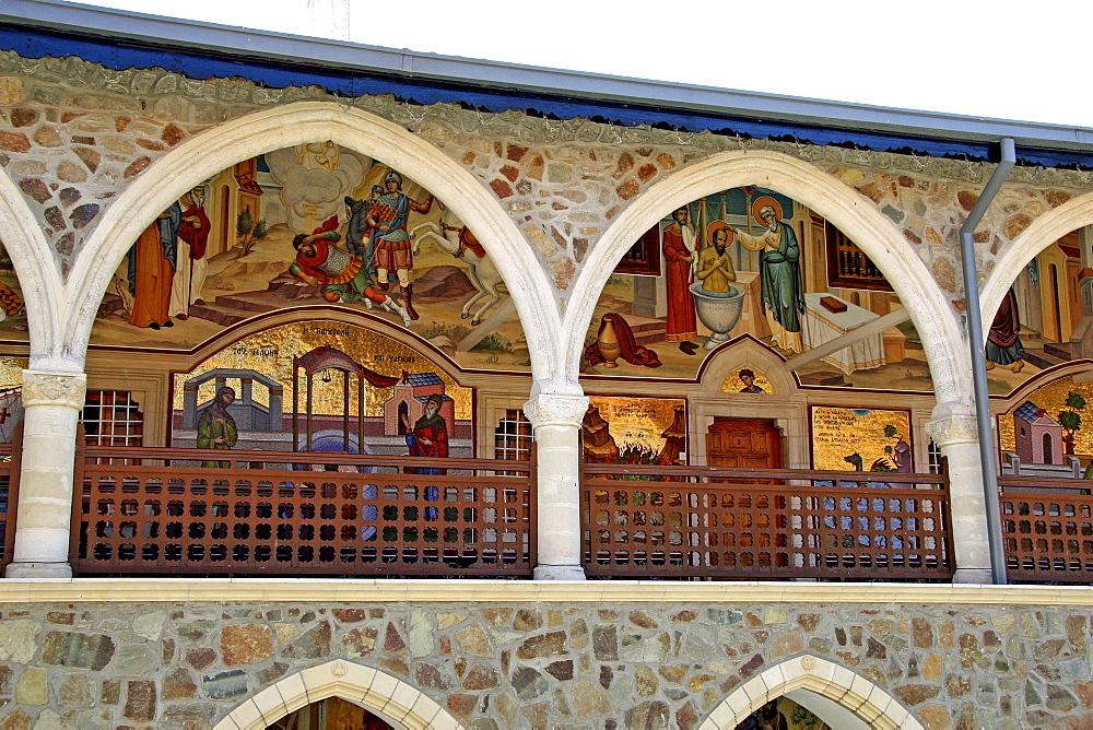 Wall murals and wall mosaics, Kykkos Monastery, Troodos Mountains, Cyprus, Europe
