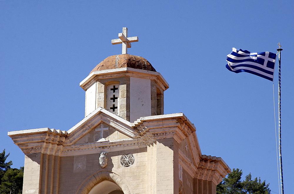 Bell tower and flag, Kykkos Monastery, Cyprus, Europe