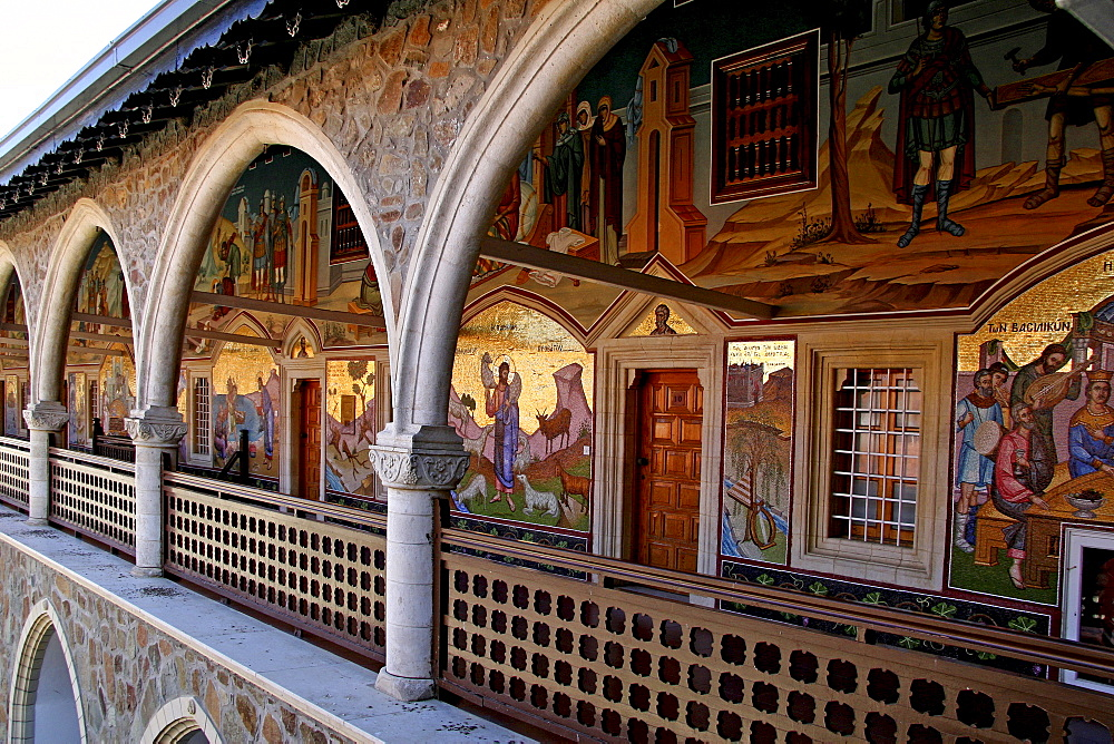 Wall mosaics on the cloister at Kykkos Monastery, Cyprus, Europe