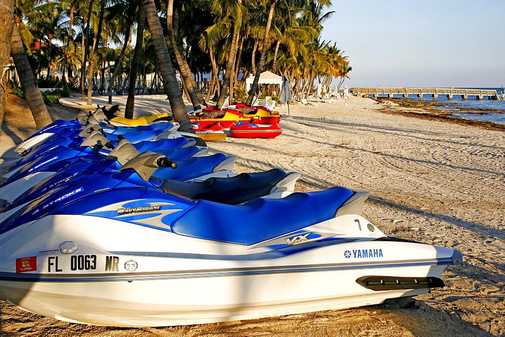 Speedboats on the beach, Key West, Miami, Florida, USA