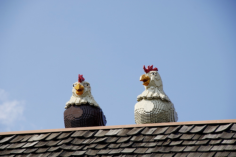 Two chickens made of Lego, theme park Legoland, Guenzburg, Germany