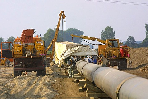 Mannheim, DEU, 23.08.2001, building of a Gas pipeline, natural gas pipeline in the Rhine level
