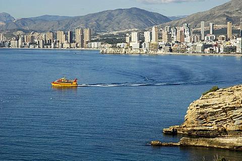 Yellow trip boat at Benidorm, Costa Blanca, Spain