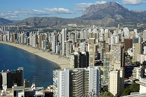 Cityscape of Benidorm with the beach Playa de Levante, Costa Blanca, Spain