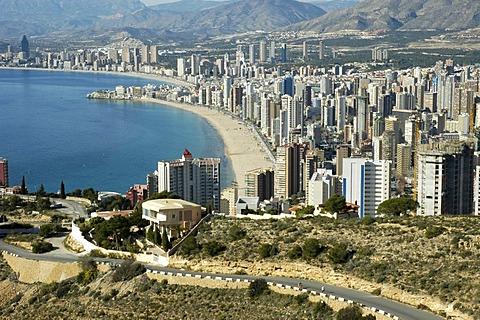 View over Benidorm, Costa Blanca, Spain