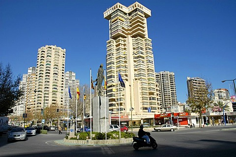 Sculpture and flags at the European square, Benidorm, Costa Blanca, Spain