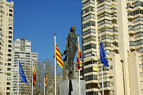 Sculpture and flags at the Europe square, Benidorm, Costa Blanca, Spain