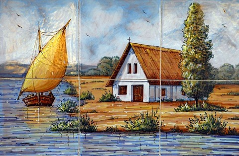 House at the river and sailing boat, Spanish tiles, azulejos, Altea, Costa Blanca, Spain