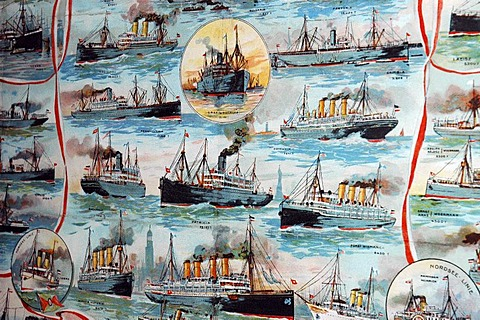 Depiction of historical steamships, shipping routes, ship lift Henrichenburg, Westphalian industry museum, Waltrop, channel, Dortmund Ems channel, museum, industry museum, route of the industry culture, NRW, Nordrhein Westphalia, Ruhr district, Germany