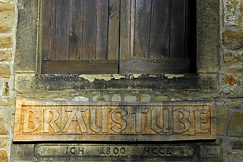Entrance sign brewery, Westphalian Open-Air Museum Hagen, Road of Industry Culture, North Rhine-Westphalia, Germany