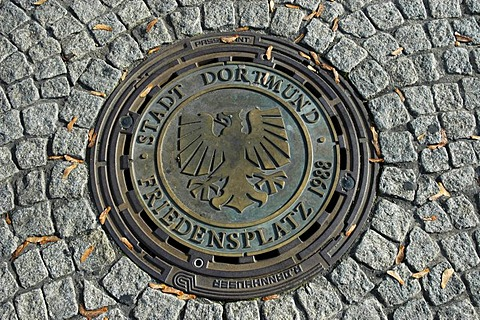 Drain cover with city coats of arms, Dortmund, North Rhine-Westphalia, Germany