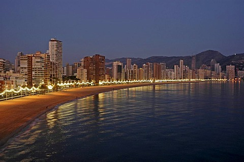 Evening mood, Playa de Levante, Benidorm, Costa Blanca, Spain