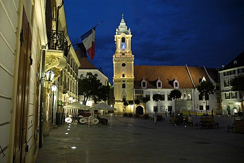 Old Town Hall at night, main square, Bratislava, Slovakia
