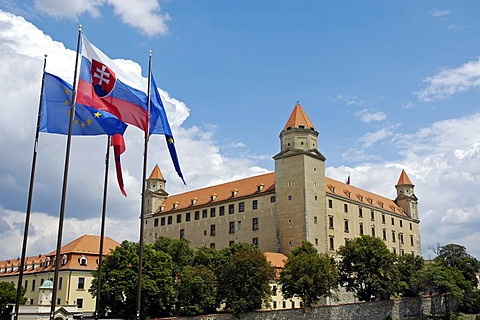 Slovak and European Union flags, Bratislava castle, Bratislava, Slovakia