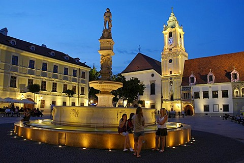 Main square, Hlavne namestie with Old Town Hall and Roland Fountain, Bratislava, Slovakia